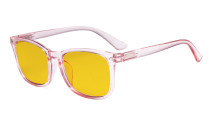 Blue Light Blocking Reading Glasses with Amber Tinted Filter Lens - Square Nerd Computer Readers - Pink HP1801