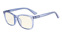 Computer Reading Glasses - Blue Light Filter - UV420 Square Nerd Readers - Blue UVRT1801