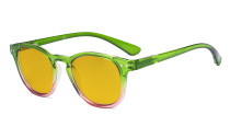 Ladies Blue Light Blocking Reading Glasses with Amber Tinted Filter Lens - Gradient Frame Computer Readers Women - Green-Pink Frame HP144