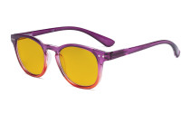 Ladies Blue Light Blocking Reading Glasses with Amber Tinted Filter Lens - Gradient Frame Computer Readers Women - Purple-Red Frame HP144
