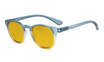 Ladies Blue Light Blocking Reading Glasses with Amber Tinted Filter Lens - Gradient Frame Computer Readers Women - Blue-Yellow Frame HP144