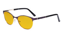 Ladies Blue Light Blocking Glasses with Amber Tinted Filter Lens - Semi Rimless Computer Eyeglasses Women - UV420 Cateye Eyewear - Purple LX19011-BB90