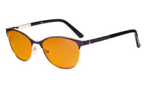 Ladies Blue Light Blocking Glasses with Orange Tinted Filter Lens for Sleeping - Semi Rimless Computer Eyeglasses Women - UV420 Cateye Eyewear - Purple LX19011-BB98