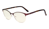 Ladies Computer Glasses - Semi Rimless Blue Light Filter Eyeglasses Women- UV420 Cateye Eyewear - Red LX19011-BB40