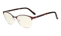Ladies Computer Glasses - Semi Rimless Blue Light Filter Eyeglasses Women- UV420 Cateye Eyewear - Red LX19011-BB40