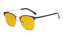 Ladies Blue Light Blocking Glasses with Amber Tinted Filter Lens - Computer Eyeglasses Women - UV420 Semi Rimless Design Eyewear - Purple LX19018-BB90