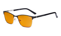 Ladies Blue Light Blocking Glasses with Orange Tinted Filter Lens for Sleeping - Semi Rimless Computer Eyeglasses Women - UV420 Eyewear - Black LX19012-BB98