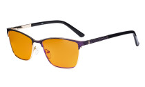 Ladies Blue Light Blocking Glasses with Orange Tinted Filter Lens for Sleeping - Semi Rimless Computer Eyeglasses Women - UV420 Eyewear - Purple LX19012-BB98