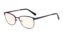 Blue Light Filter Glasses Women Men - Relief Pattern Frame Anti Glare Computer Eyeglasses - UV420 Filter Eyewear - Black and Red LX19017-BB40