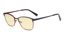 Blue Light Blocking Glasses Women Men - Relief Pattern Frame Anti Blue Glare Computer Eyeglasses - UV420 Protection Yellow Filter Eyewear - Black and Red LX19017-BB60