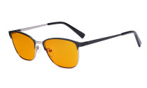 Blue Light Blocking Glasses Women Men - Relief Pattern Frame Anti Blue Glare Computer Eyeglasses - UV420 Protection Orange Tinted Filter Eyewear - Black and Gunmetal LX19017-BB98
