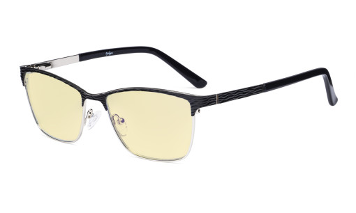 Ladies Blue Light Blocking Glasses with Yellow Filter Lens - Semi Rimless Computer Eyeglasses Women - UV420 Eyewear - Black LX19012-BB60