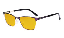 Ladies Blue Light Blocking Glasses with Amber Tinted Filter Lens - Semi Rimless Computer Eyeglasses Women - UV420 Eyewear - Purple LX19012-BB90