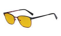 Blue Light Blocking Glasses Women Men - Relief Pattern Frame Anti Blue Glare Computer Eyeglasses - UV420 Protection Amber Tinted Filter Eyewear - Black and Red LX19017-BB90