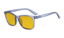 Blaulichtblockierung-Brille mit bernsteinfarbener Filterglas - quadratische Nerd-Computer-Brille. -Blau HP1801