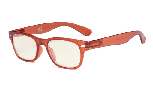 Damen Computer Brille - Blaulichtfilter Damen Lesebrille - UV420 Schutz Retro Brille Orange-BB40 Glas UVRFH4
