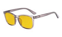 Blaulichtblockierung-Brille mit bernsteinfarbener Filterglas - quadratische Nerd-Computer-Brille. -Grau HP1801