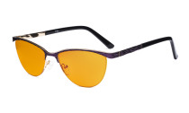 Ladies Blue Light Blocking Glasses with Orange Tinted Filter Lens for Sleeping - Half Rimless Computer Eyeglasses Women - UV420 Cateye Eyewear - Purple LX19013-BB98