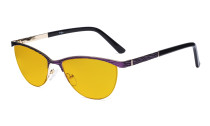 Ladies Blue Light Blocking Glasses with Amber Tinted Filter Lens - Half Rimless Computer Eyeglasses Women - UV420 Cateye Eyewear - Purple LX19013-BB90