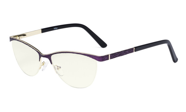 Ladies Computer Glasses - Half Rimless Blue Light Filter Eyeglasses Women- UV420 Cateye Eyewear - Purple LX19013-BB40