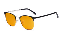 Damen Blaulichtblocker Brille mit orange getönter Filtergläser - Computer Brillen Damen - UV420 Halbrandlos Design Brille - LX19018-Black-BB98