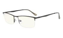 Computer Reading Glasses UV Half-Rim Metal Frame Readers Women Men Gunmetal Light Lens CG1614