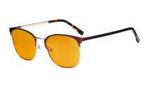 Damen Blaulichtblocker Brille mit orange getönter Filtergläser - Computer Brillen Damen - UV420 Halbrandlos Design Brille - LX19018-Rot-BB98