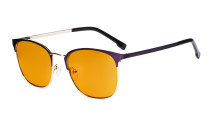 Damen Blaulichtblocker Brille mit orange getönter Filtergläser - Computer Brillen Damen - UV420 Halbrandlos Design Brille - LX19018-Lila-BB98
