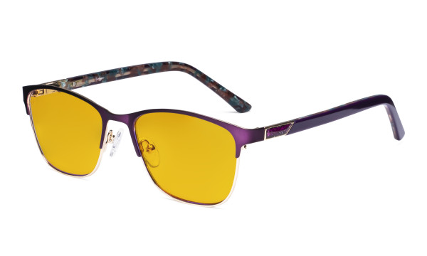 Blue Light Blocking Glasses Women with Amber Tinted Filter Lens - Ladies Anti Blue Ray Eyeglasses - Purple LX19015-BB90