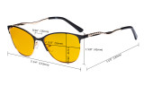Ladies Blue Light Blocking Glasses with Amber Tinted Filter Lens - Semi Rimless Computer Eyeglasses Women - UV420 Cateye Eyewear with Crystals - Red LX19014-BB90