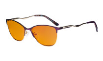 Ladies Blue Light Blocking Glasses with Orange Tinted Filter Lens for Sleeping - Semi Rimless Computer Eyeglasses Women - UV420 Cateye Eyewear with Crystals - Purple LX19014-BB98