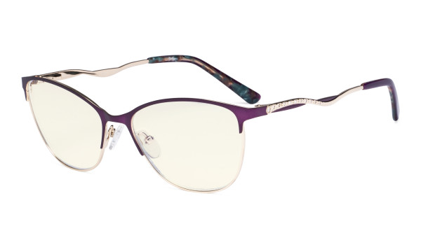 Ladies Blue Light Filter Glasses - Semi Rimless Computer Eyeglasses Women- UV420 Cateye Eyewear with Crystals - Purple LX19014-BB40