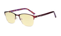 Blue Light Blocking Glasses Women with Yellow Filter Lens - Ladies Anti Blue Ray Eyeglasses - Red LX19015-BB60