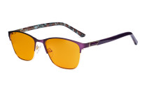 Blue Light Blocking Glasses Women with Orange Tinted Filter Lens for Sleeping - Ladies Anti Blue Ray Eyeglasses - Purple LX19015-BB98