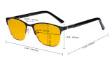 Blue Light Blocking Glasses Women with Amber Tinted Filter Lens - Ladies Anti Blue Ray Eyeglasses - Black LX19015-BB90