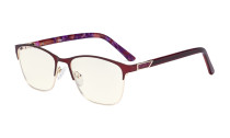Blue Light Filter Computer Glasses Women - UV420 Ladies Eyeglasses - Red LX19015-BB40
