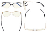 Ladies Blue Light Filter Glasses - Semi Rimless Computer Eyeglasses Women- UV420 Cateye Eyewear with Crystals - Black LX19014-BB40