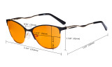 Ladies Blue Light Blocking Glasses with Orange Tinted Filter Lens for Sleeping - Semi Rimless Computer Eyeglasses Women - UV420 Cateye Eyewear with Crystals - Black LX19014-BB98