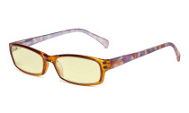 Blue Light Blocking Reading Glasses Women with Yellow Filter Lens - Ladies Pattern Arm Computer Readers - Brown TMCGT1803