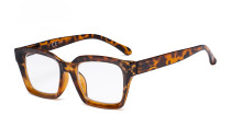 Ladies Oprah Style Reading Glasses - Oversized Square Design Readers for Women Tortoise R9106