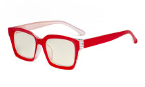 Ladies Computer Glasses - Blue Light Filter Readers Oprah Women - UV420 Oversized Square Design Reading Eyeglasses - Red UVR9106