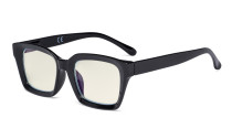 Ladies Computer Glasses - Blue Light Filter Readers Oprah Women - UV420 Oversized Square Design Reading Eyeglasses - Black UVR9106