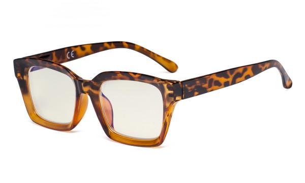 Ladies Computer Glasses - Blue Light Filter Readers Oprah Women - UV420 Oversized Square Design Reading Eyeglasses - Tortoise UVR9106