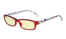 Blue Light Blocking Reading Glasses Women with Yellow Filter Lens - Ladies Pattern Arm Computer Readers - Red TMCGT1803
