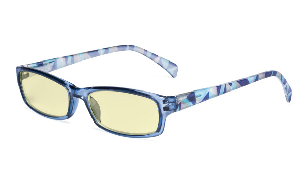 Blue Light Blocking Reading Glasses Women with Yellow Filter Lens - Ladies Pattern Arm Computer Readers - Blue TMCGT1803