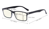 Computer Glasses - Yellow Light Filter Readers - UV420 Stylish Quality Spring Hinges Reading Glasses - Yellow UVR802