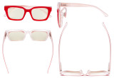 Ladies Computer Glasses - Blue Light Filter Readers Oprah Women - UV420 Oversized Square Design Reading Eyeglasses - Red UVR9106