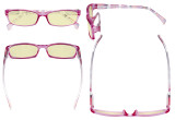 Blue Light Blocking Reading Glasses Women with Yellow Filter Lens - Ladies Pattern Arm Computer Readers - Purple TMCGT1803