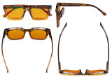 Ladies Blue Blocking Computer Reading Glasses with Orange Tinted Filter Lens for Sleeping  - Oversized Square Design Computer Readers Women Oprah - Tortoise DS9106