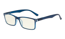 Computer Glasses - Blue Light Filter Readers - UV420 Stylish Quality Spring Hinges Reading Glasses - Blue UVR802